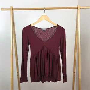 Express • Babydoll Long Sleeve Top Red Size XS